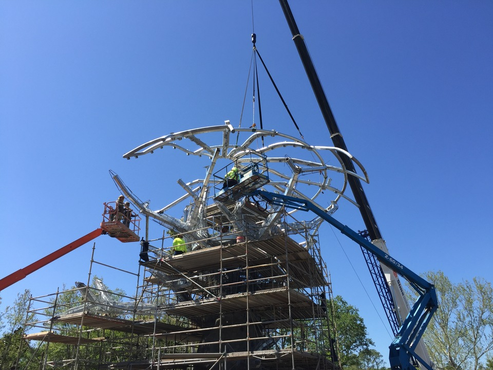 Assembling the canopy for the Jacksonville Zoo Iconic Tree project